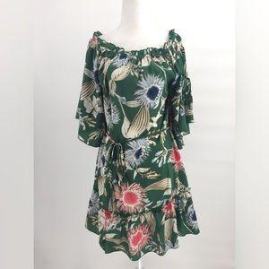 Umgee Dress Side Tie Green Flower Pattern M